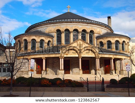 The Greek Orthodox Cathedral of the Annunciation, on Preston St. in Baltimore, MD, on a sunny winter day. - stock photo