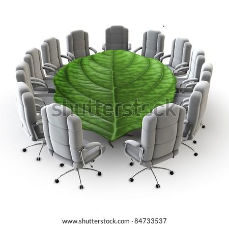 The green boardroom - stock photo