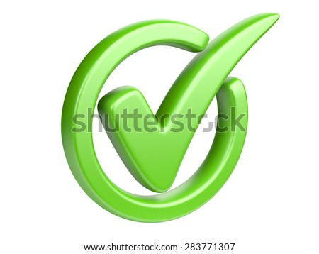 The green check mark isolated on a white.  - stock photo