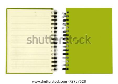 The Green cover of Note book Horizontal - stock photo