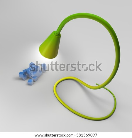 The green lamp on a flexible basis covers a pile of blue cubes.  - stock photo