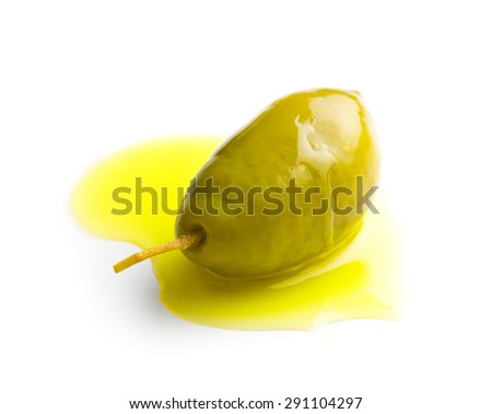 the green olive and olive oil - stock photo