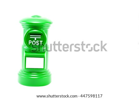 The green post of coin bank on isolate white background with copy space - stock photo