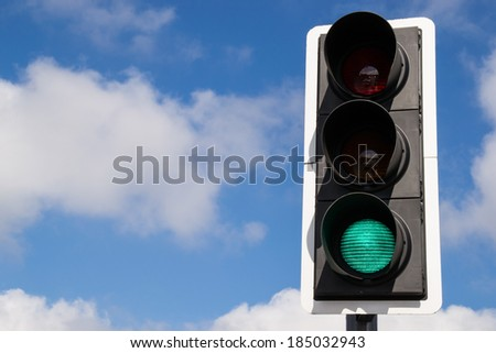 The green street light. - stock photo