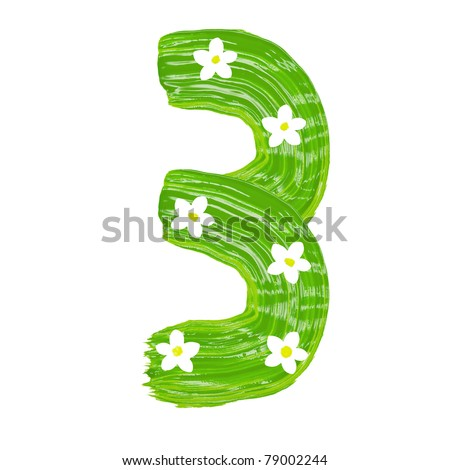 The green three drawn by paints with white blossom - stock photo