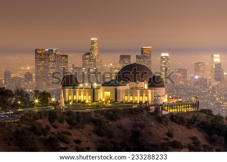 The Griffith Observatory and Los Angeles city skyline at twilight CA - stock photo