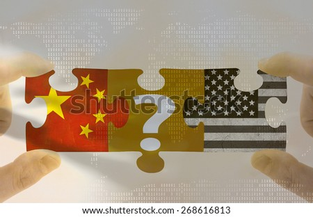 The Group of Two (G2) foreign policy. Grungy old flags of China and USA puzzle concept - stock photo