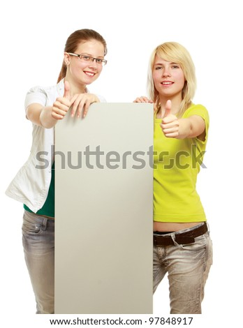 The group of young people holds the empty board and showing ok, isolated on white background - stock photo