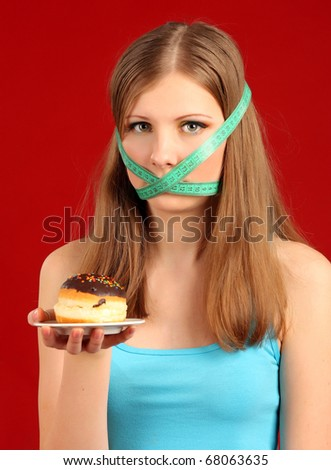 The growing thin girl. Diet. - stock photo