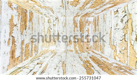The grunge old hard wood room perspective background texture - stock photo