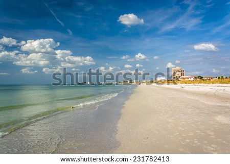 The Gulf of Mexico and beach at St. Pete Beach, Florida. - stock photo