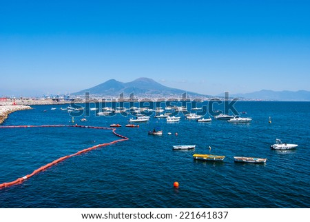 The Gulf of Naples is bordered on the north by the city of Naples, on the east by Mount Vesuvius, Italy - stock photo