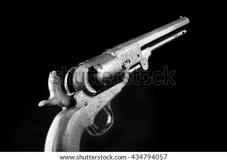 The gun that won the west, Six shooter in black and white. - stock photo