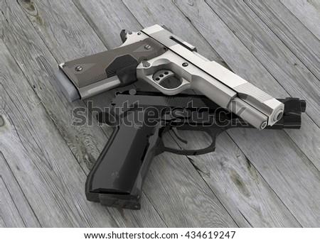 The Guns - 3D - stock photo