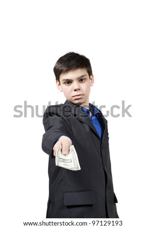 the guy offers money, isolated on white background - stock photo