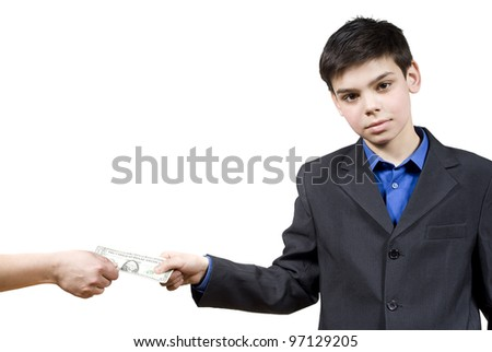 the guy takes the money, isolated on white background - stock photo