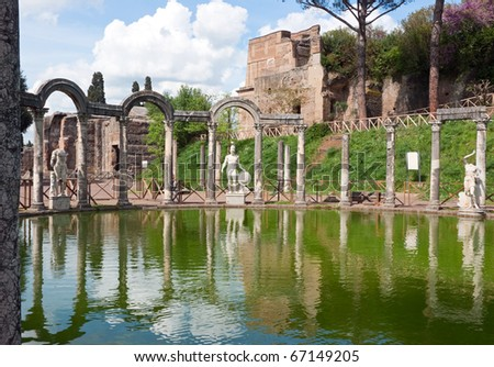 The Hadrian's Villa (Villa Adriana in Italian) is a large Roman archaeological complex at Tivoli, Italy. - stock photo
