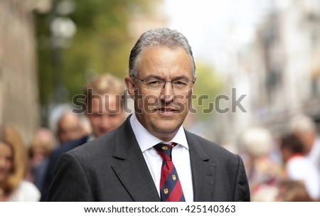 The Hague, Holland - 16 September 2014: Mayor Aboutaleb of Rotterdam during the opening of the new parliamentary year in the Netherlands   - stock photo