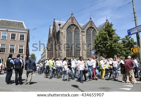 The Hague, Netherlands - June 9 2016: Demonstration of employees of the European Patent Office. The protest is against the dismissal  and degrade of colleagues for having criticized their employer - stock photo