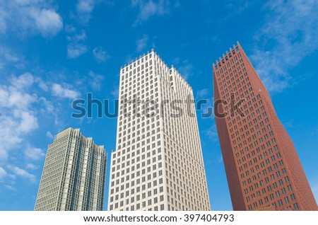 THE HAGUE, NETHERLANDS - OCTOBER 3, 2015: Modern skyscrapers in the city center of The Hague. The Dutch government and parliament are located in the city, and it is the residence of the royal family - stock photo