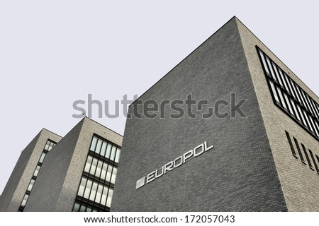 THE HAGUE, THE NETHERLANDS ,?? JANUARY 18, 2014: Photo of the new Europol Headquarter in The Hague, Den Haag, with the Europol sign. January 18,2014 The Hague, The Netherlands - stock photo