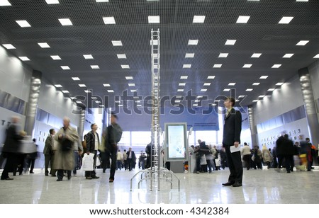 The hall of business center - stock photo