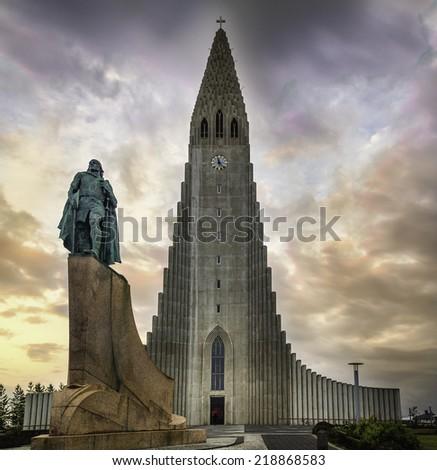 The Hallgrimskirkja in Reykjavik, Iceland under the midnight sun - stock photo