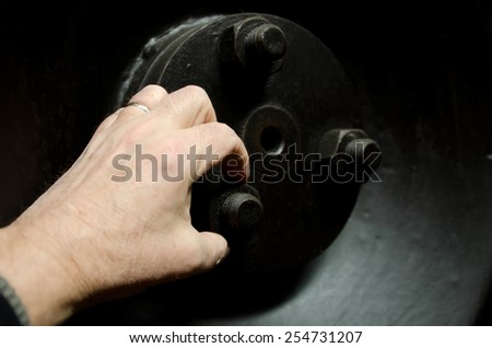 the hand and the nut - stock photo