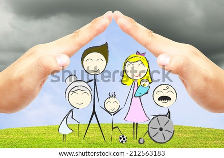 The hand drawing of happy big family on the green field and blue sky background under 2 open hands attach together like a roof for protection them from the storm. - stock photo