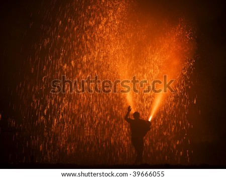 The hand hold fireworks in summer festival - stock photo