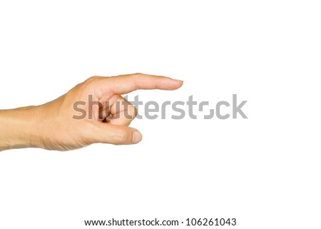 The-hand-pointing-is-on-the-white-background - stock photo