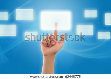 The hand presses digital button - stock photo