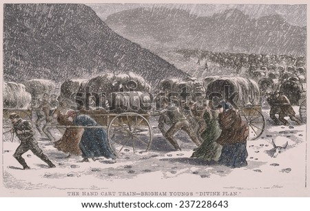 The handcart pioneers struggle through a blizzard while crossing the Rocky Mountains on the Mormon Trail. - stock photo