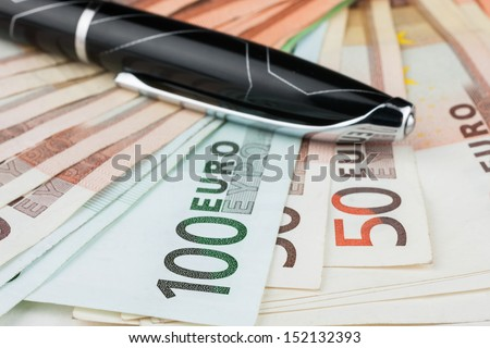 The handle is on the euro, can be used as background - stock photo