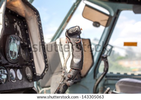The handle of driving by helicopter - stock photo