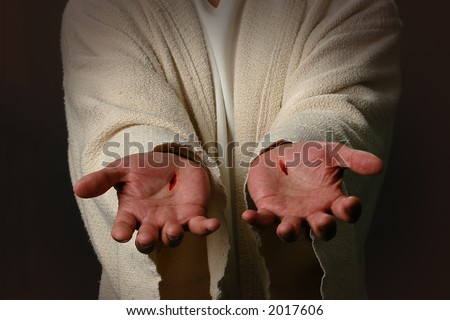 The Hands of Jesus showing scars - stock photo