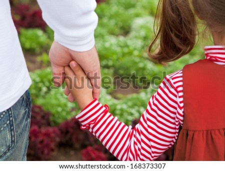 The hands of the father and child - stock photo