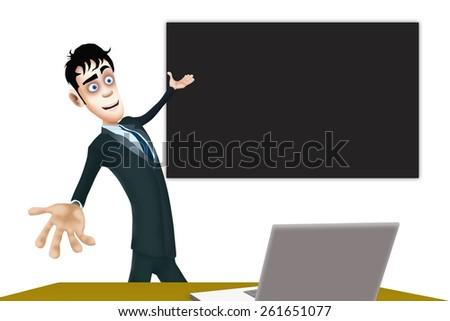 The happy businessman show the blackboard  - stock photo