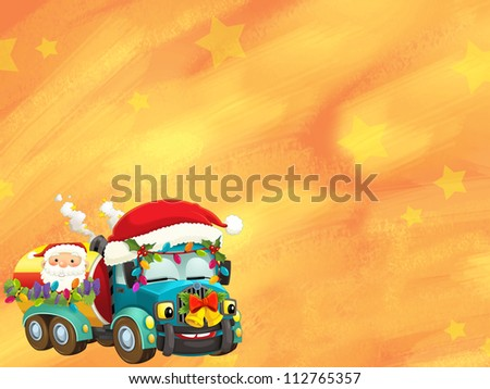 The happy christmas scene - with frame - christmas robots - robotics - electronics - robot reindeer - illustration for the children - stock photo