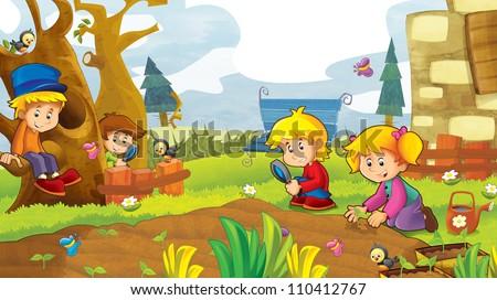The happy kids having fun in the vegetable garden - illustration for the children 1 - stock photo