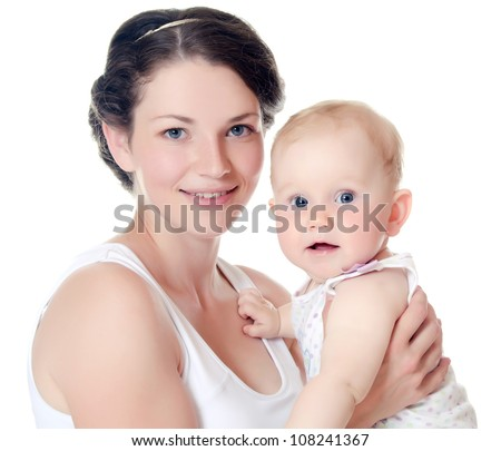 The happy mother with baby over white - stock photo