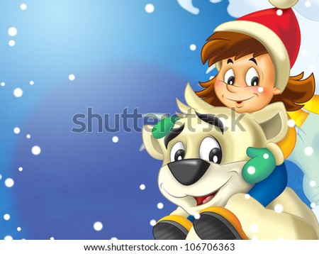 The happy scene - kid playing with funny bear - stock photo