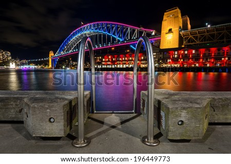 The Harbour Bridge on Vivid Sydney Festival 2014 at Walsh Bay - stock photo