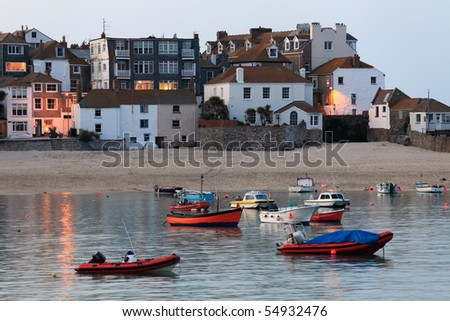 The harbour of St Ives after the sun has set, Cornwall, England. - stock photo