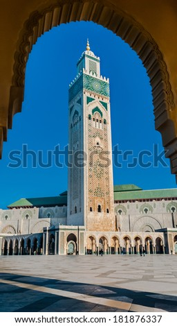 The Hassan II Mosque, Casablanca is the largest mosque in Morocco and the third largest mosque in the world after the Grand Mosque of Mecca and the Prophet's Mosque in Medina. - stock photo