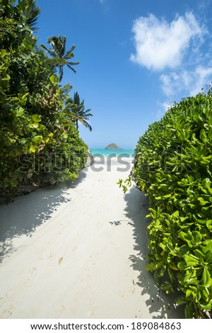 The Hawaiian way and sea and sky- Lanikai, Oahu, Hawaii-2 - stock photo