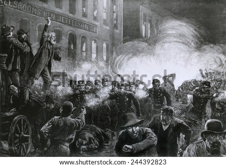 The Haymarket Riot, May 4, 1886, Chicago. Beginning as a strike rally, an unknown person threw a dynamite bomb that killed eight police and a number of civilians. - stock photo
