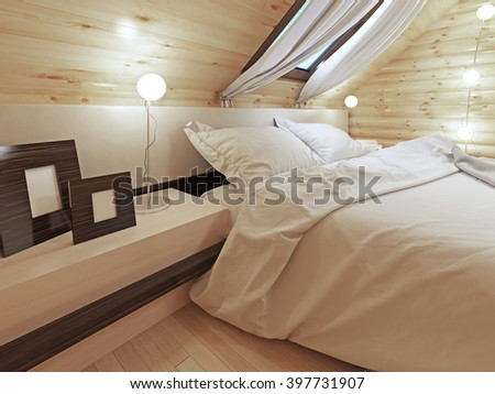 The headboard of the bed with a bedside table with pictures. Contemporary bed with headboard and shelves. Bedroom log cabin style. 3D render. - stock photo