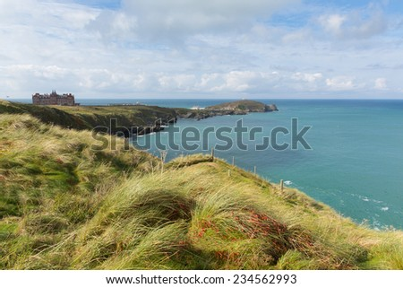 The Headland at Newquay Cornwall England UK - stock photo