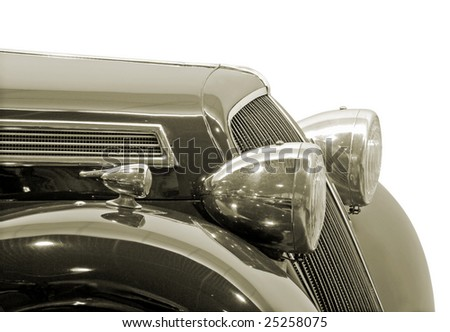 The headlight of antiquarian car isolated over white with clipping path. - stock photo
